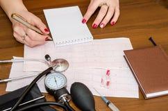 Cardiograma, metro de la presión, jeringuillas y ampollas Imagen de archivo libre de regalías