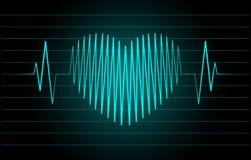 Cardiograma na forma do coração Foto de Stock Royalty Free