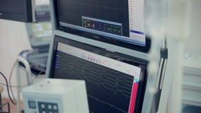 Cardiograma real Cardiógrafo de trabajo en un hospital de la cardiología Lanzamiento del resbalador metrajes
