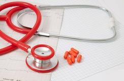 Cardiograma y píldora Imagenes de archivo