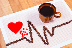 Cardiogramlijn van koffiebonen, kop koffie en supplementpillen, geneeskunde en gezondheidszorgconcept Stock Fotografie