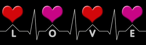 Cardiogramm with love. Red and pink hearts with white cardiogram line  and the lettering love Stock Images