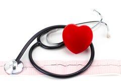 Cardiogramme avec le stéthoscope et coeur rouge sur le fond blanc, c Images libres de droits