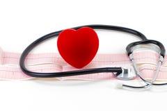Cardiogramme avec le stéthoscope et coeur rouge sur le fond blanc, c Images stock