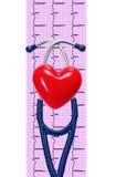 Cardiogramme avec le stéthoscope et coeur sur le blanc Images libres de droits