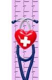 Cardiogramme avec le stéthoscope et coeur sur le fond blanc Image stock