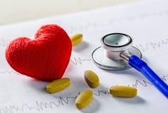 Cardiogramme avec le stéthoscope, la pilule et le coeur rouge sur la table Photographie stock