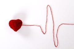 Cardiogramme de coeur de laine Photographie stock