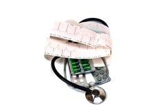 Cardiogramme et stéthoscope Photographie stock