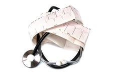 Cardiogramme et stéthoscope Images libres de droits