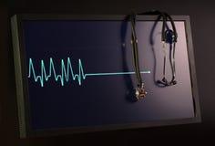 Cardiogramme et stéthoscope de effacement sur le moniteur Photographie stock