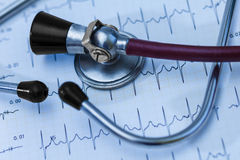 Cardiogramme et stéthoscope médicaux Photographie stock