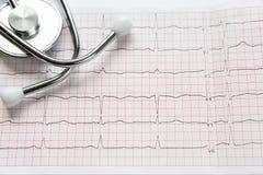 Cardiogramme et stéthoscope sur le blanc Image stock
