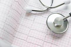 Cardiogramme et stéthoscope sur le blanc Photographie stock