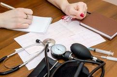 Cardiogramme, mètre de pression, seringues et ampoules Image stock