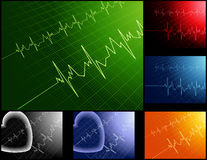 Cardiograms_different_colors Royalty Free Stock Photo
