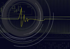 Cardioline. Heart's cardioline with science elements on the dark background Royalty Free Stock Images