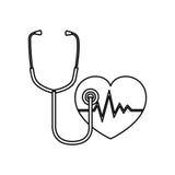 cardiologia do coração e ícone do símbolo do estetoscópio Imagens de Stock