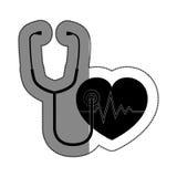 cardiologia do coração e ícone do símbolo do estetoscópio Foto de Stock