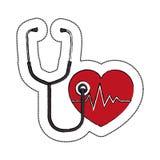 cardiologia do coração e ícone do símbolo do estetoscópio Fotos de Stock Royalty Free