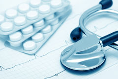 Cardiological still-life (blue toned) Stock Photography