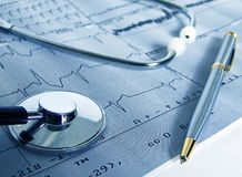 Cardiological test. Real cardiological test with stethoscope Stock Image