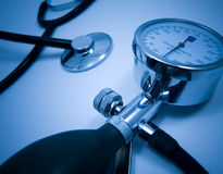 Cardiological test. Real cardiological test with stethoscope Royalty Free Stock Photography