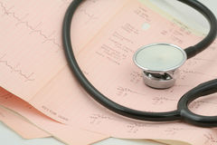 Cardiological tests with stethoscope #2. Cardiological tests results with stethoscope, photo contains no protected material stock photo