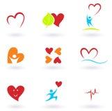 Cardiologie, hart en de inzameling van mensenpictogrammen Stock Foto