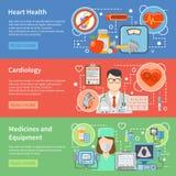 Cardiologie Vlakke Banners Stock Foto's