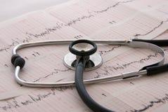 Cardiologische test met stethoscoop Stock Foto