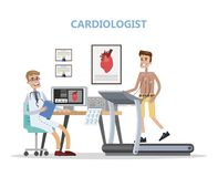 Cardiologist checking mans heart. Doctor examining patient. Healthcare and treatment. Isolated flat vector illustration stock illustration