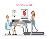Cardiologist checking woman heart. Doctor examining patient. Healthcare and treatment. Isolated flat vector illustration vector illustration
