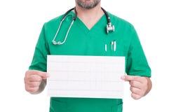 Cardiologist doctor holding a heathy ekg Stock Photos