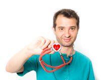 Cardiologist on white background , main focus on the stethoscope Royalty Free Stock Images