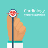 Cardiologist doctor vector. Cardiologist doctor stethoscope hold in hand. Red heartbeat with life line, symbol healthcare. Medical background. Vector stock illustration