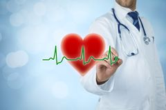 Cardiologist and healthcare concepts. Healthcare and heart problems prevention cardiology concept. Cardiologist or general practitioner doctor and symbol of the Stock Image