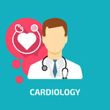 Cardiologist icon flat style Royalty Free Stock Photo