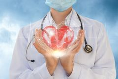Cardiologist shows a heart in hands . stock image