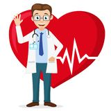 Cardiologist smiles and waves his hand against the background of a healthy heart. The cardiologist smiles and waves his hand against the background of a healthy stock illustration