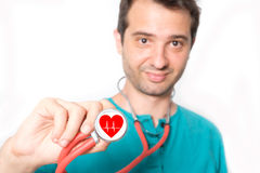 Cardiologist and stethoscope main focus on the stethoscope Royalty Free Stock Photo