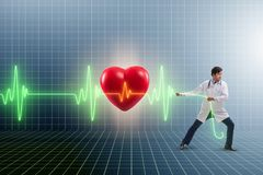 The cardiologist in telemedicine concept with heart beat. Cardiologist in telemedicine concept with heart beat royalty free stock photos