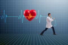 The cardiologist in telemedicine concept with heart beat. Cardiologist in telemedicine concept with heart beat stock photos