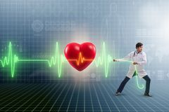 The cardiologist in telemedicine concept with heart beat. Cardiologist in telemedicine concept with heart beat stock illustration