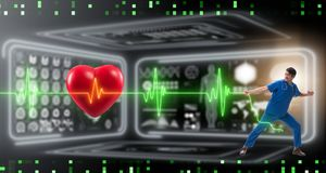 The cardiologist in telemedicine concept with heart beat. Cardiologist in telemedicine concept with heart beat stock image