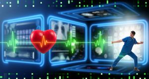 The cardiologist in telemedicine concept with heart beat. Cardiologist in telemedicine concept with heart beat stock images