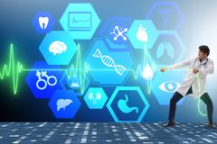 The cardiologist in telemedicine concept with heart beat. Cardiologist in telemedicine concept with heart beat stock photo