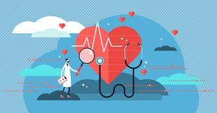 Cardiologist vector illustration. Mini person concept with heart health job. Doctor with stethoscope check patient heartbeat and pulse. Professional medic stock illustration