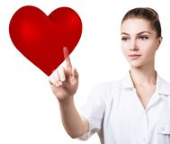 Cardiologist woman doctor holding big red heart. Cardiologist woman doctor holding big red heart and white cross. Healthcare concept stock photos