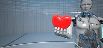 Cardiologista Humanoid do coração do robô ilustração stock